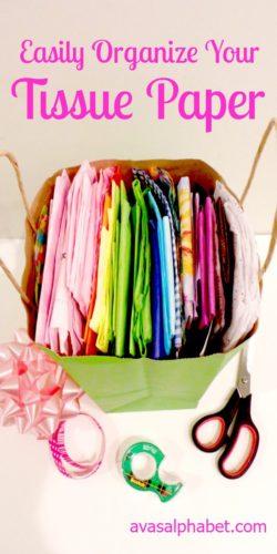 tissue paper stored inside gift bag organizing paperwork