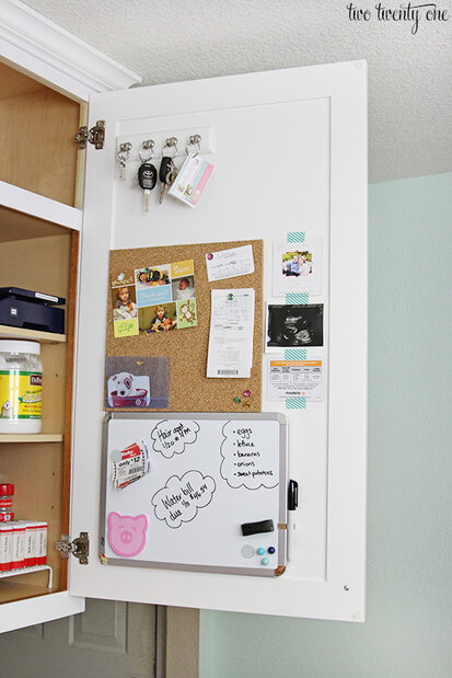 organize kitchen cabinets using the inside of the doors
