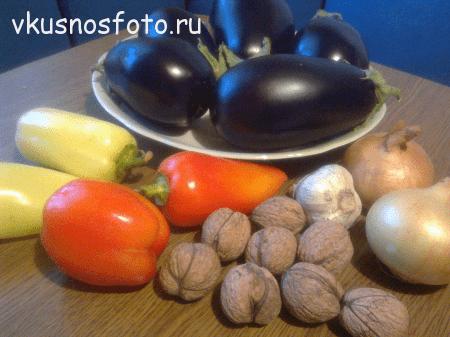 ингредиенты для тёплого салата из баклажан и перца