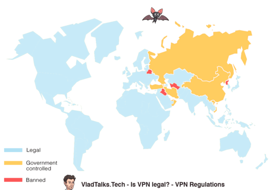 Where is VPN legal - Diagram showing where VPN is legal, countries where is controlled, and countries where it is completely banned.