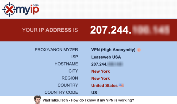 Image showing XMyIP while checking the VPN - How do I know if my VPN is working?