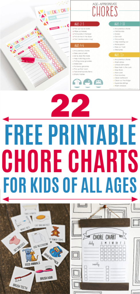 Teach your kids important life skills with these free printable chore charts #freeprintables #chorecharts #kids