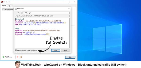 WireGuard on Windows - Block untunneled traffic - Kill Switch