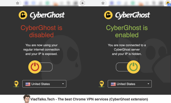 Screenshots of the CyberGhost Chrome extension - Best Chrome VPN