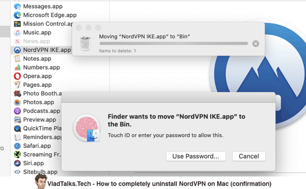 How to completely uninstall NordVPN on Mac - Confirmation