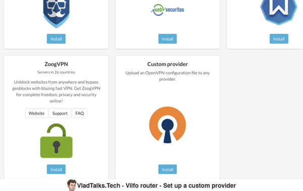 Vilfo setup - Custom provider