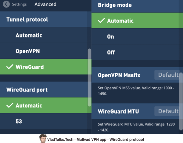 WireGuard selection in the Mullvad app