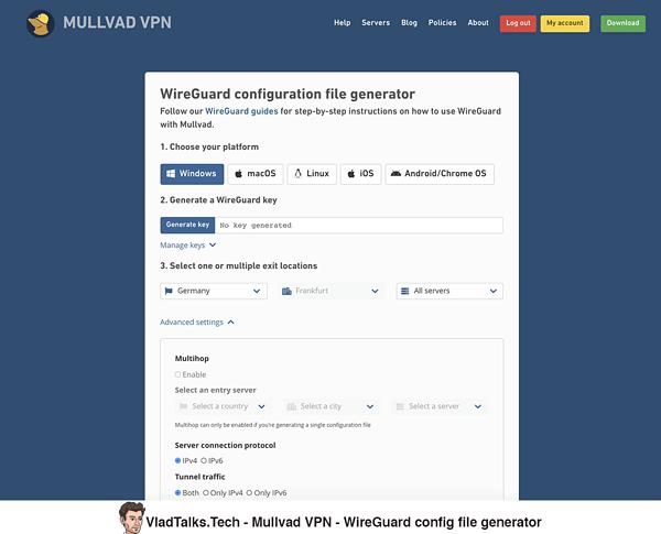 WireGuard config file generator - Mullvad VPN