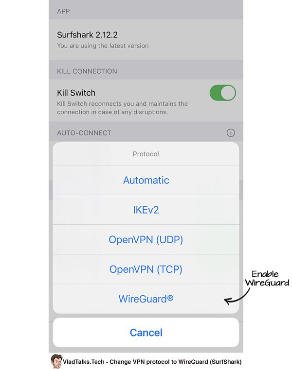 Enable WireGuard on iOS (SurfShark)