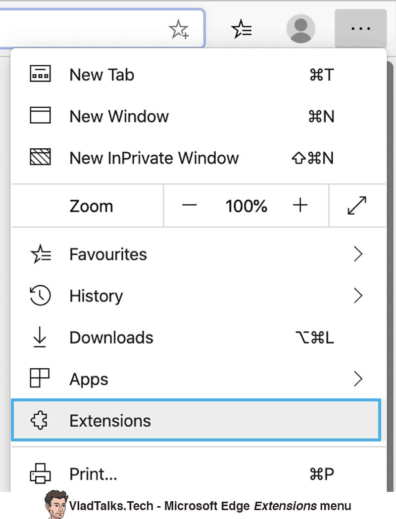 Install Chrome VPN extension on Microsoft Edge - Extensions menu