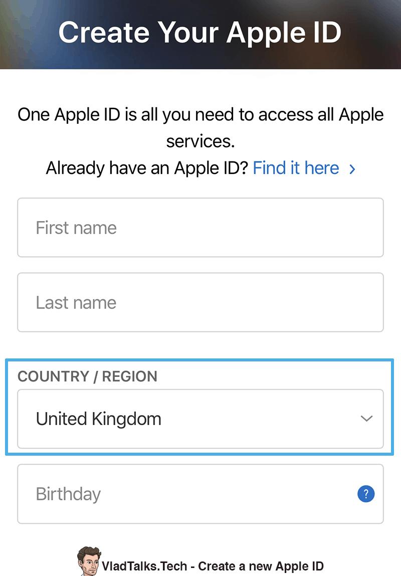 Watch BBC - Create new Apple ID
