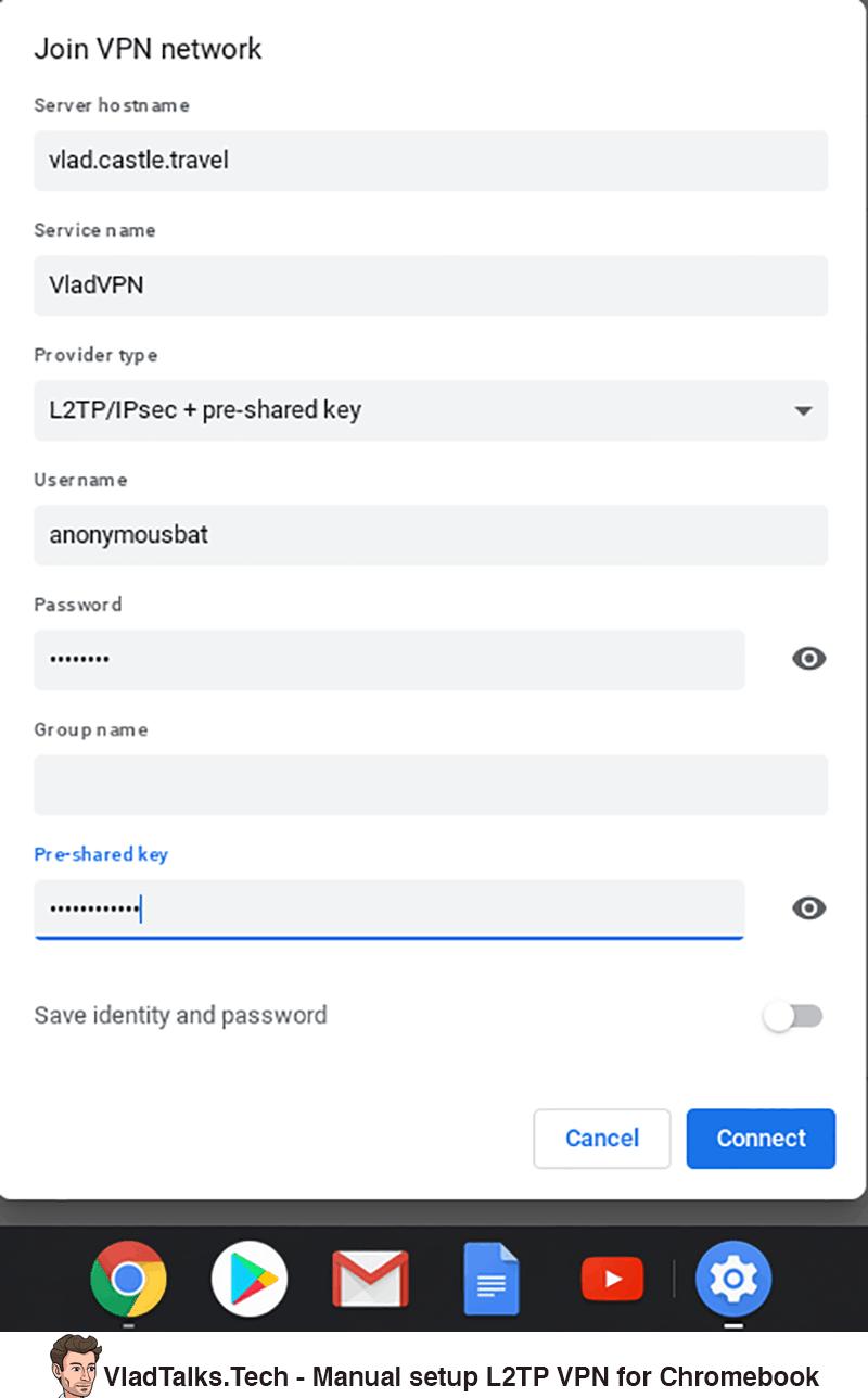 VPN for Chromebook - Set up L2TP connection