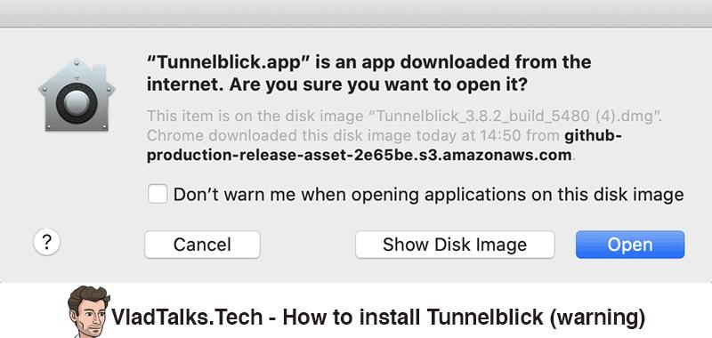 How to install Tunnelblick - Warning