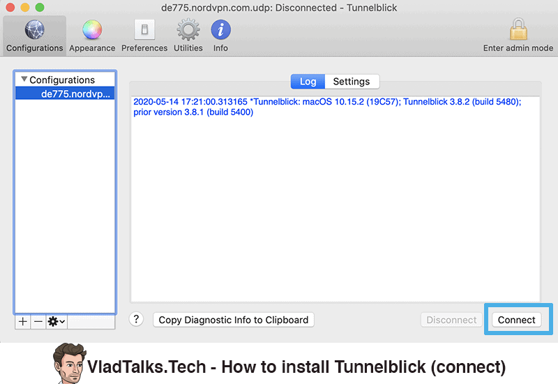 How to install Tunnelblick - Connect