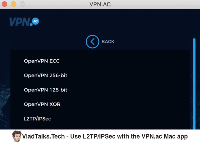 Use L2TP/IPSec with the VPN.ac Mac app