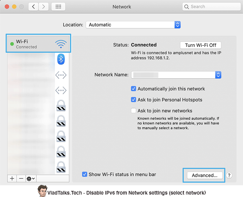 Disable IPv6 on Mac from Network settings (select network)