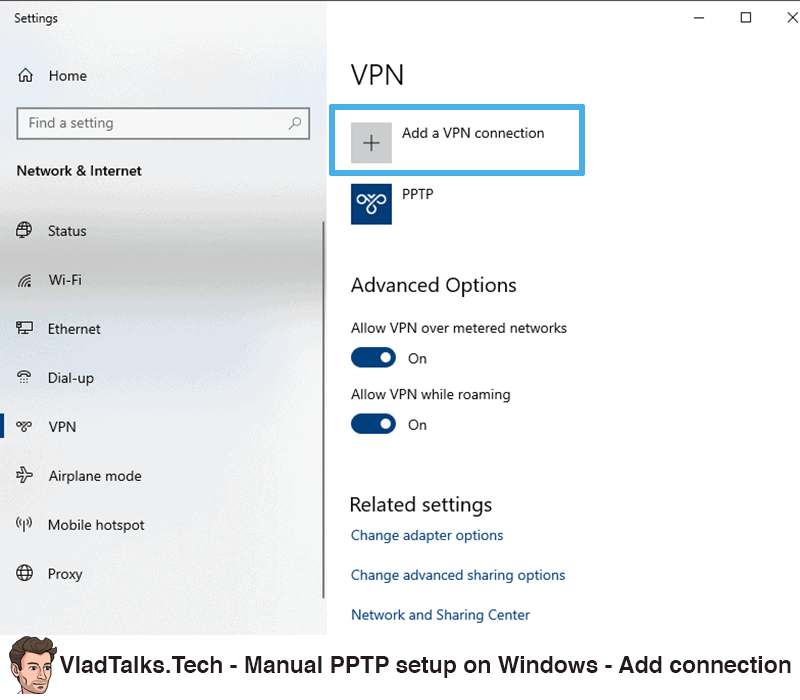 Manual PPTP setup on Windows - Add a VPN connection