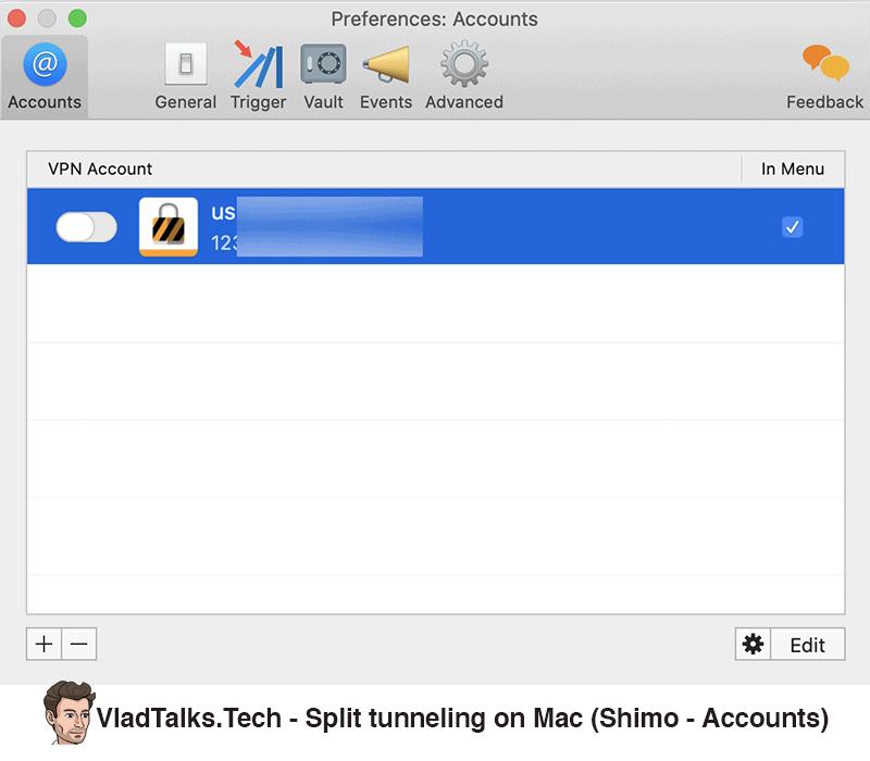 Shimo accounts - How to set up split tunneling on Mac