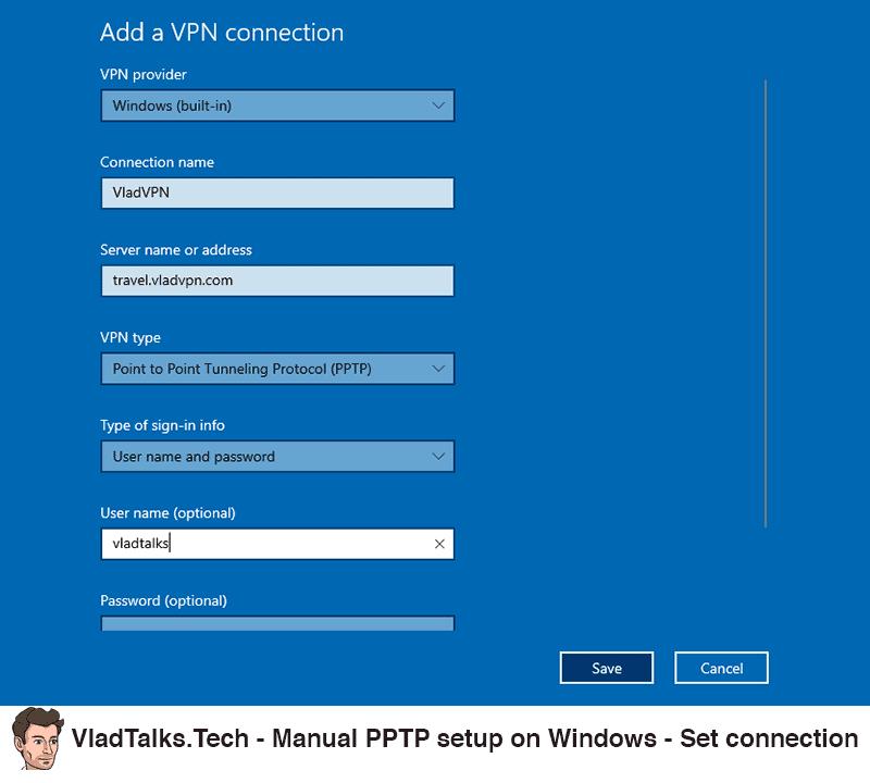 Manual PPTP setup on Windows - Set up the VPN connection