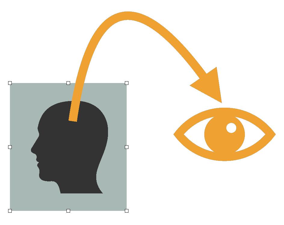 Tekening van hoofd in een box met een pijl eruit naar een oog dat van buitenaf ernaar kijkt: Stap uit je depressie met behulp van mindfulness.
