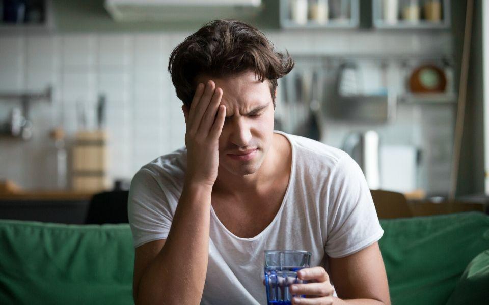 Man with severe headache