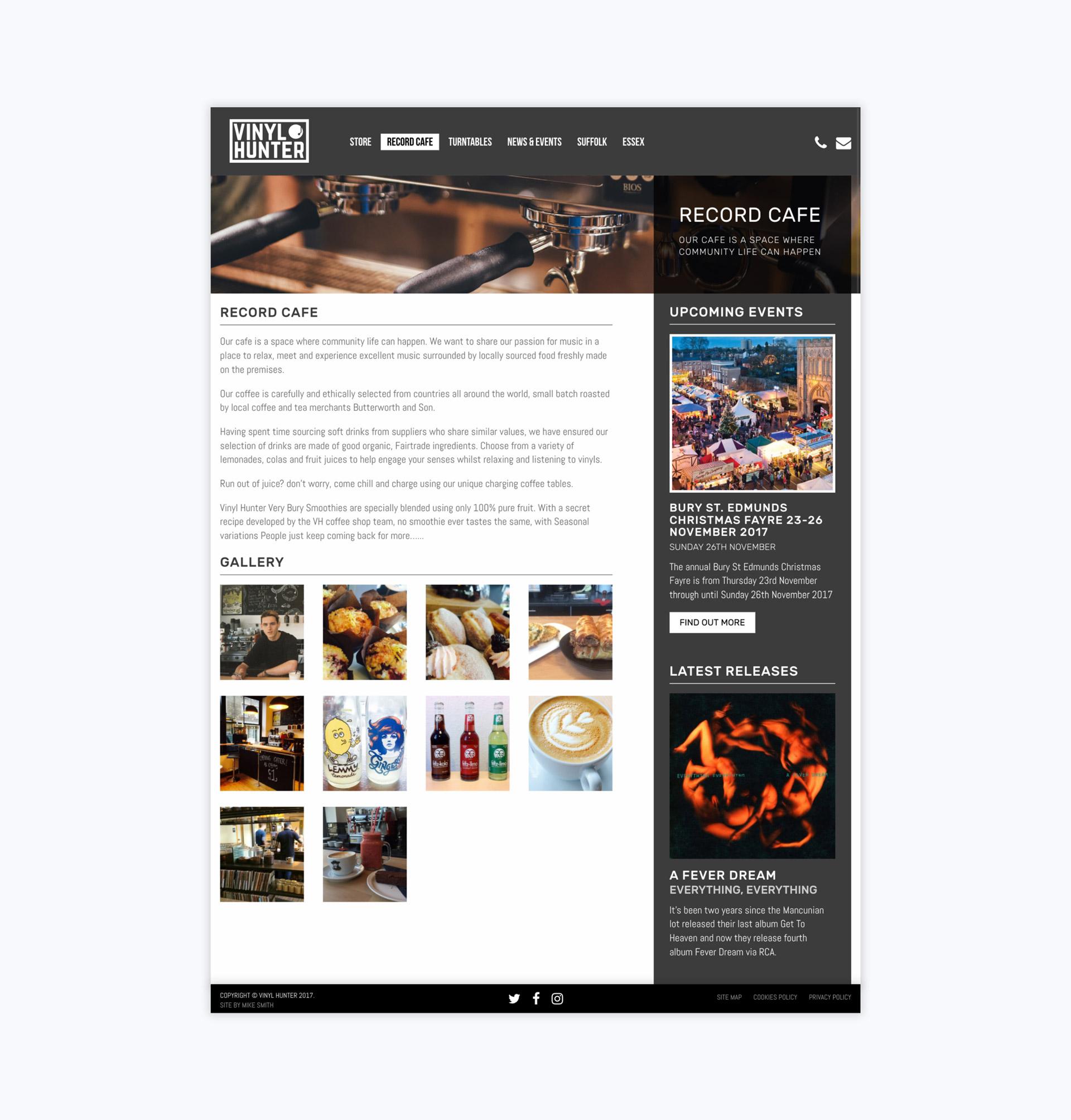 Vinyl Hunter Record Cafe Page Tablet