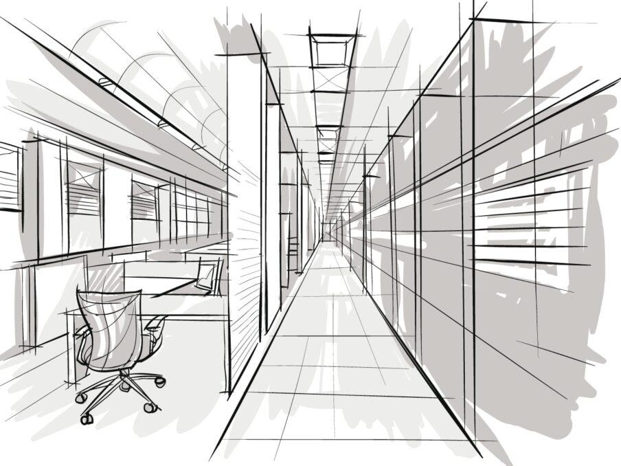 Een schets van een kantoor