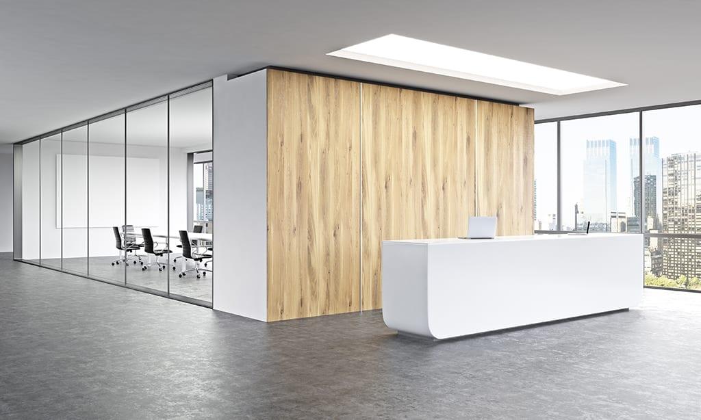 Kantoorwand glas hout
