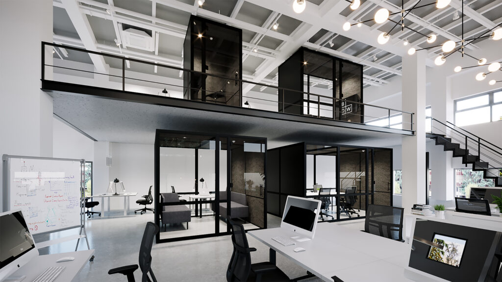 Bow Office Fit Out Kantoorunits in een kantoor