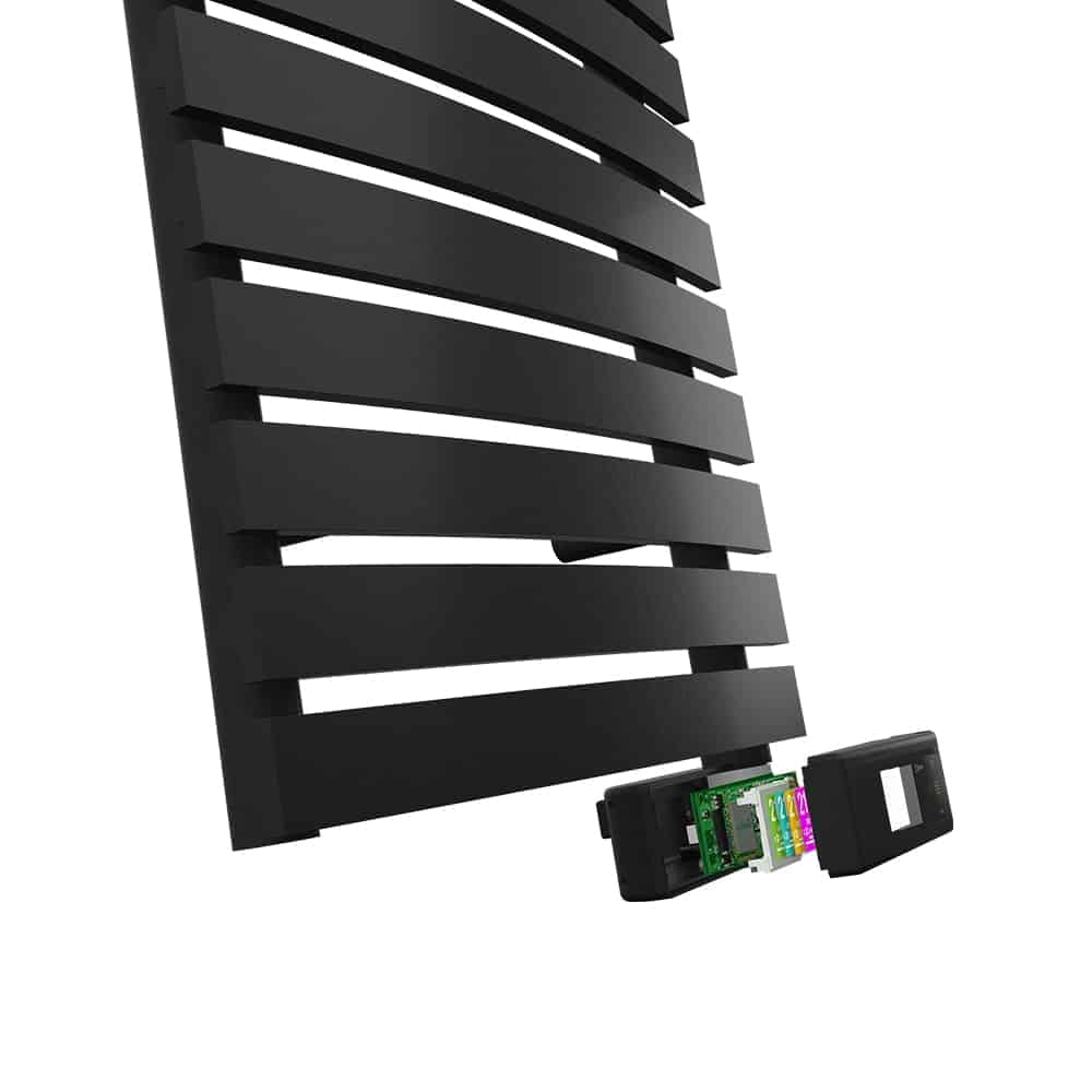Close up of D Series towel rail electronic components showing screen, Wifi module and technology chip