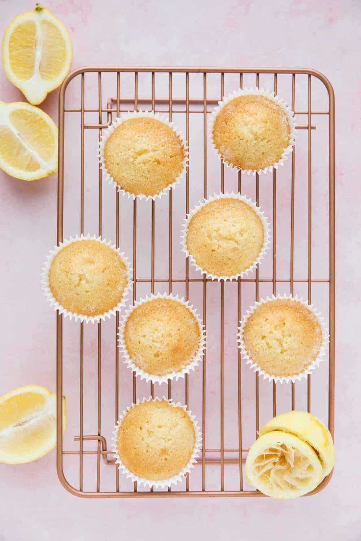 Moist lemon drizzle cupcakes.