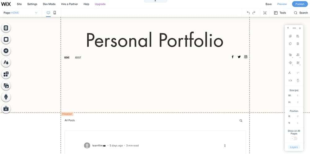 Wix visual editor interface