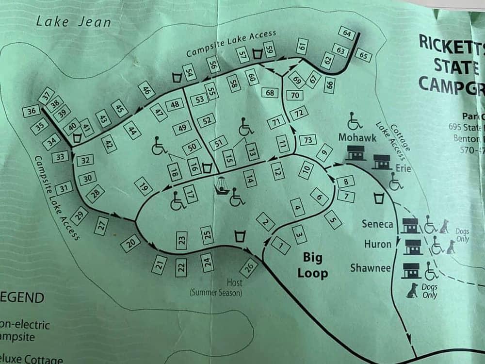 ricketts glen state park campground map