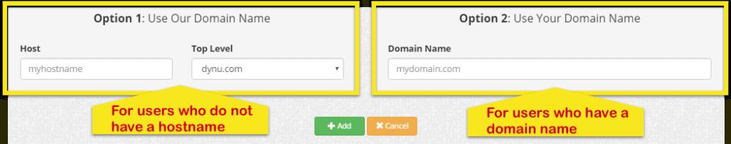 Pagina Dynu DDNS che mostra l'opzione 1 (per gli utenti che non hanno un nome host) e l'opzione 2 (per gli utenti che lo hanno già).