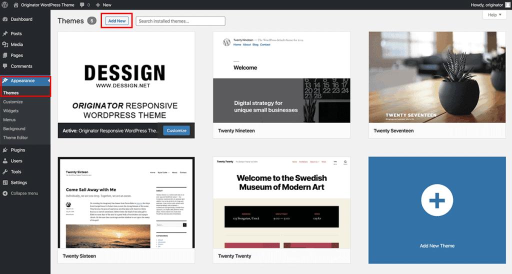 Add new theme inside WordPress dashboard