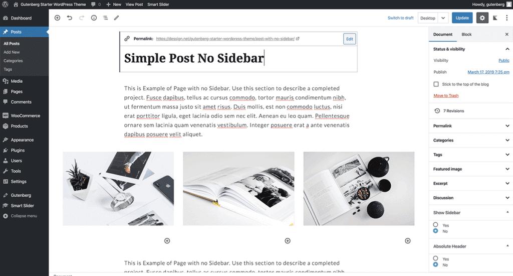 WordPress Gutenberg Simple Post