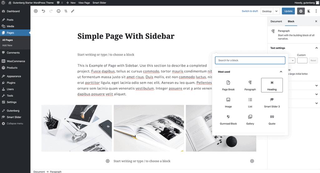 Adding Simple Page to WordPress Gutenberg Theme