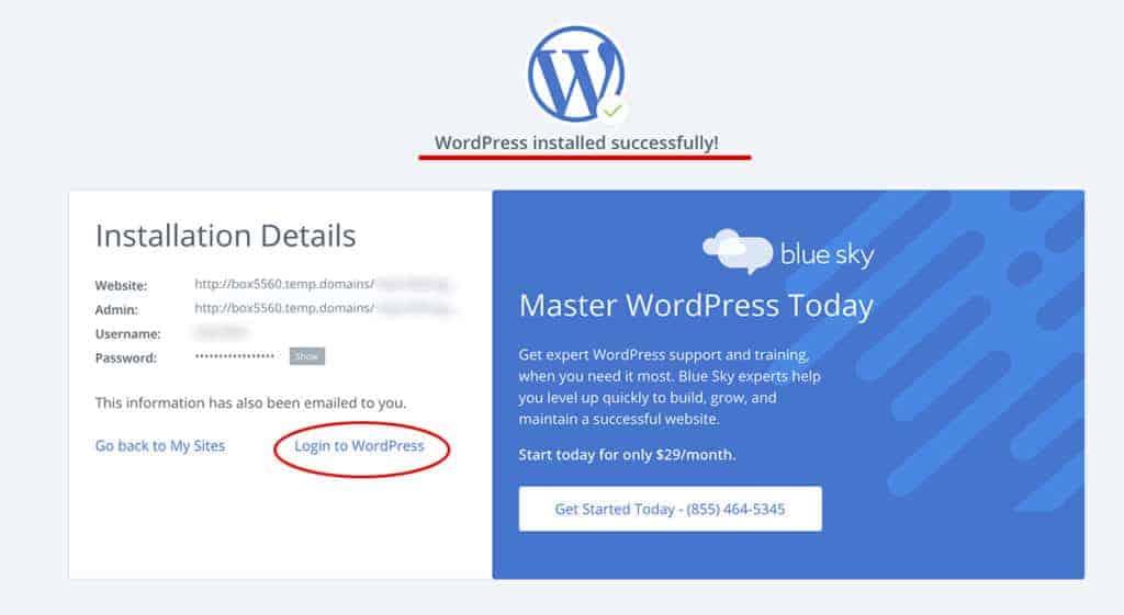 WordPress Installed Successfully