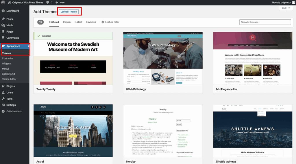 upload new theme inside WordPress dashboard