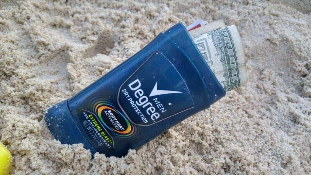 Empty deodorant storage for valuables