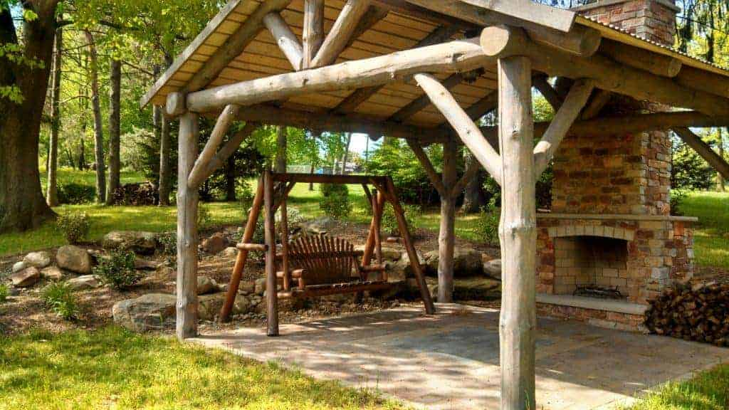 Wood Shelter with Fireplace and swing