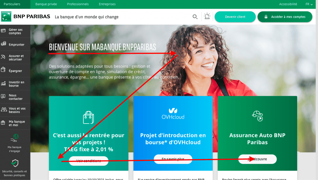BNP Paribas home page and reading in Z