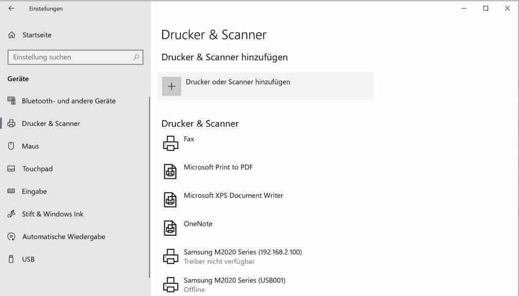 Excel Insights: Screenshot Einstellungen Drucker & Scanner