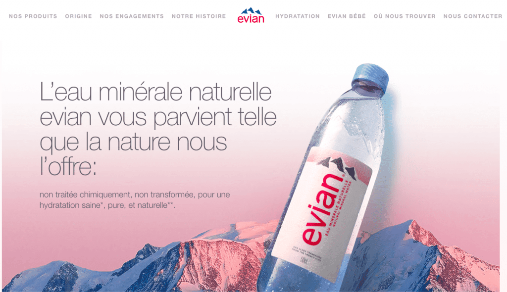 Website design for Evian home page