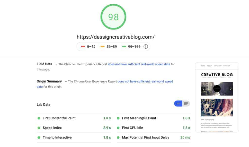 Bluehost pagespeed inside