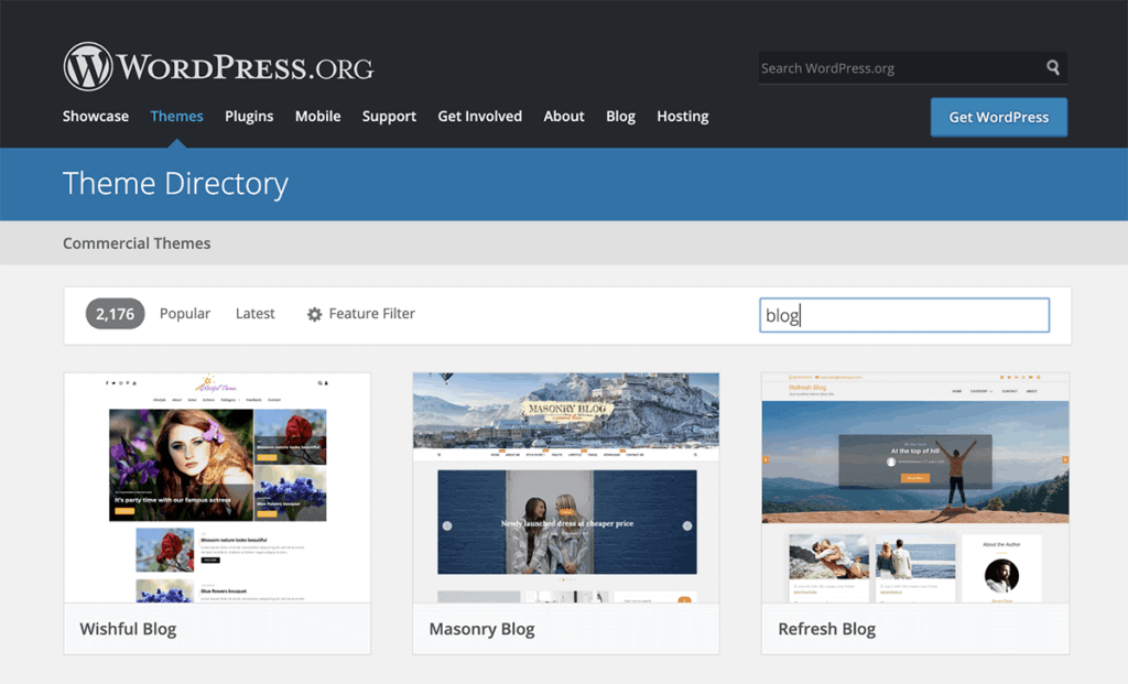WordPress.org Blog theme Directory
