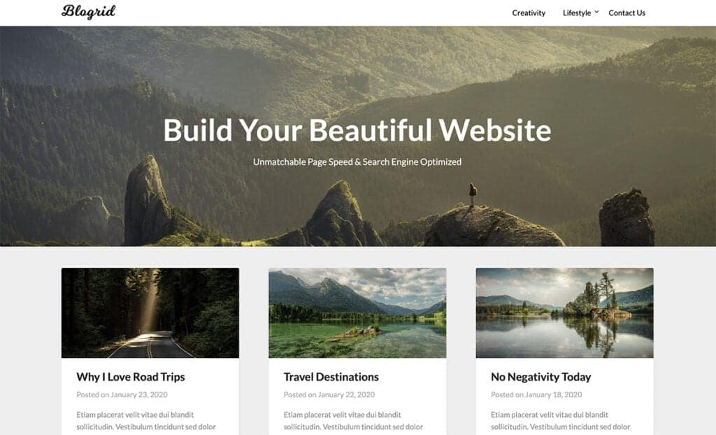 blogrid free theme