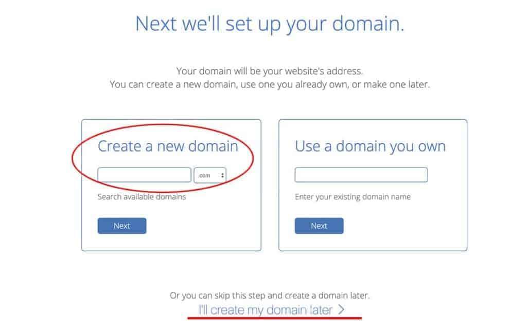 Bluehost choose website domain name
