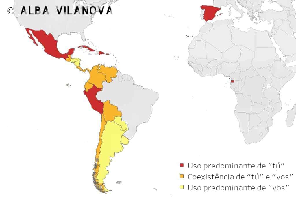 Uso das palavras tú e vos por país - Aprender espanhol - Blog de Alba Vilanova