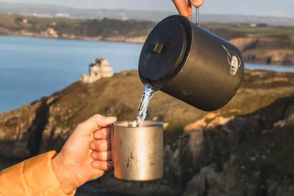 A tea flask by the sea